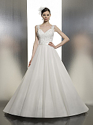 Moonlight Tango T634 natural waist ball gown wedding gown with lace straps