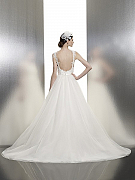 Moonlight Tango T634 trendy A-line lace ball gown with lace straps