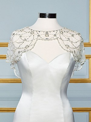 Moonlight CAP-20 lace long sleeve and sheer beaded bridal jackets