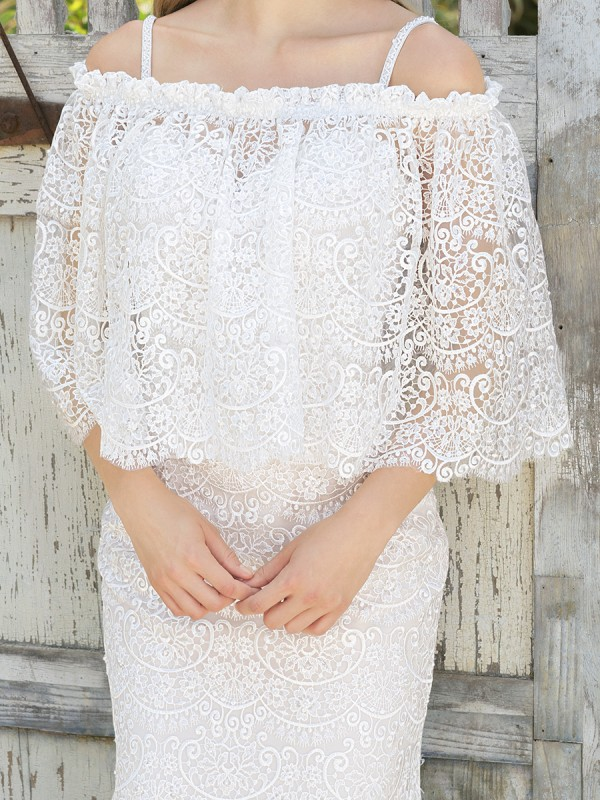 Moonlight CAP-29 lace long sleeve and sheer beaded bridal jackets