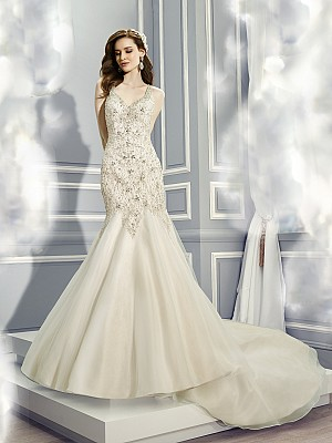 Moonlight Couture H1285 on trend couture lace wedding dresses and beaded wedding dresses