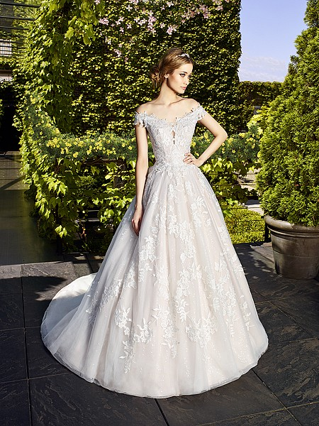 Moonlight Couture H1323 gorgeous off-the-shoulder drop waist wedding gown