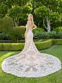 Moonlight Couture H1341 vintage inspired lace mermaid wedding gown with low V-back