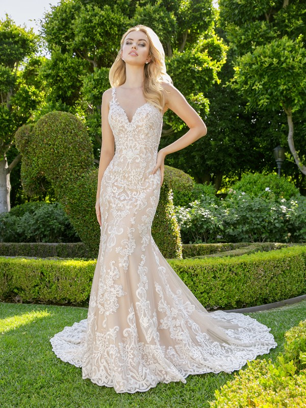 Moonlight Couture H1341 sexy nude-tone V-neck with straps mermaid wedding dress