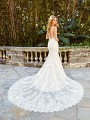Moonlight Couture H1351 sexy low V-back wedding gown with beaded straps and long sheer lace semi-cathedral train