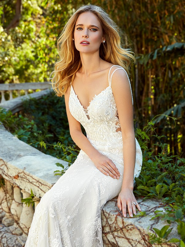 Moonlight Couture H1351 gorgeous lace mermaid wedding dress with illusion sides and double beaded spaghetti straps