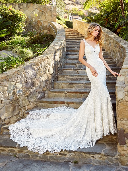 Moonlight Couture H1352 stunning all-lace wedding gown with bohemian blossom net and V-neck
