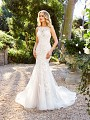Moonlight Couture H1353 romantic illusion scoop back wedding dress with convertible detachable semi-cathedral train