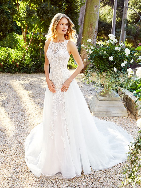 Moonlight Couture H1353 popular sleeveless scoop neck lace wedding gown with optional detachable organza skirt