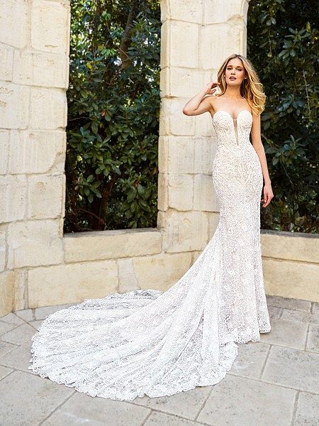 Moonlight Couture H1354 sultry all-lace mermaid wedding dress with low and sexy illusion inset neckline