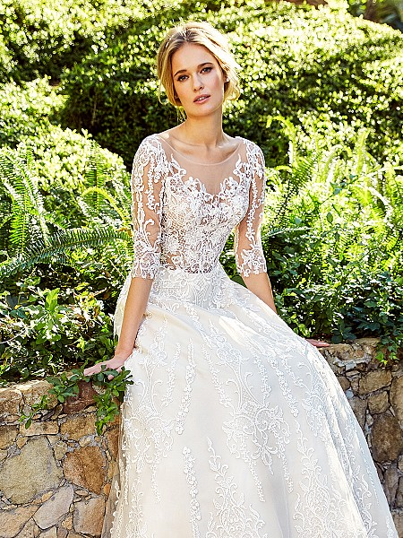 Moonlight Couture H1356A breathtaking unlined full A-line lace wedding gown with sheer long sleeves