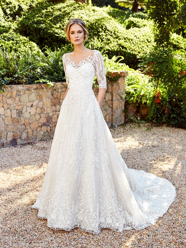 Moonlight Couture H1356B on trend couture lace wedding dresses and beaded wedding dresses