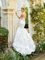 Moonlight Couture H1358A strapless see-through unlined mermaid wedding dress with lace bodice and textured sweep train