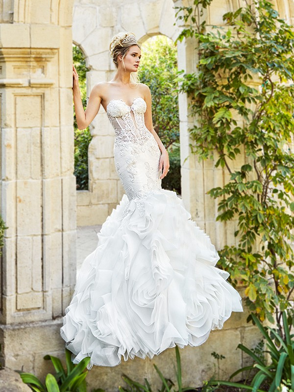 Moonlight Couture H1358A sexy unlined drop waist mermaid wedding dress with sheer bodice and ruffle skirt