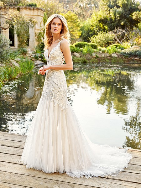 Moonlight Couture H1359 alluring deep V-neck wedding dress with sparkling beaded bodice and simple mermaid skirt