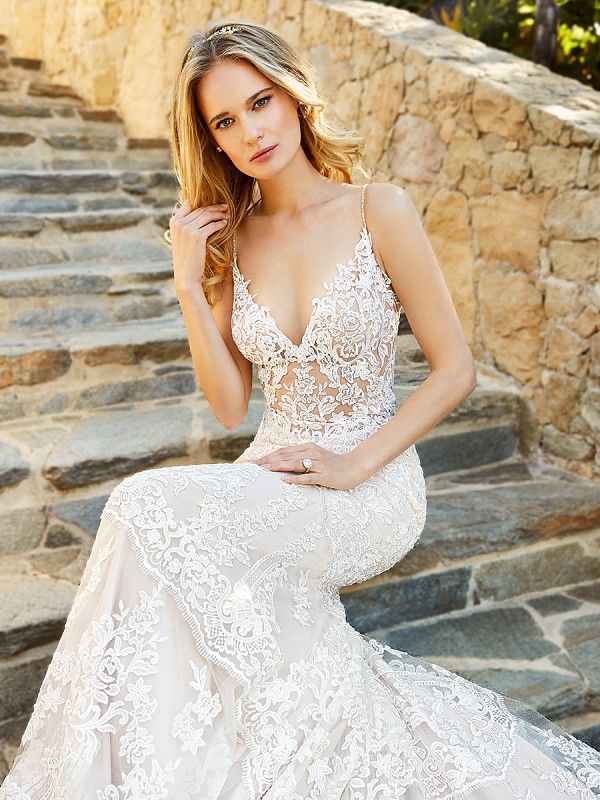 Moonlight Couture H1361A unlined sexy sheer lace V-neck bodice with spaghetti straps and long semi-cathedral train