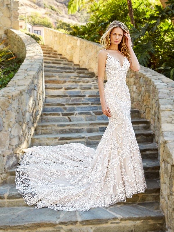 Moonlight Couture H1361B on trend couture lace wedding dresses and beaded wedding dresses
