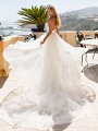 Moonlight Couture H1371 strapless lace wedding dress with detachable layered train