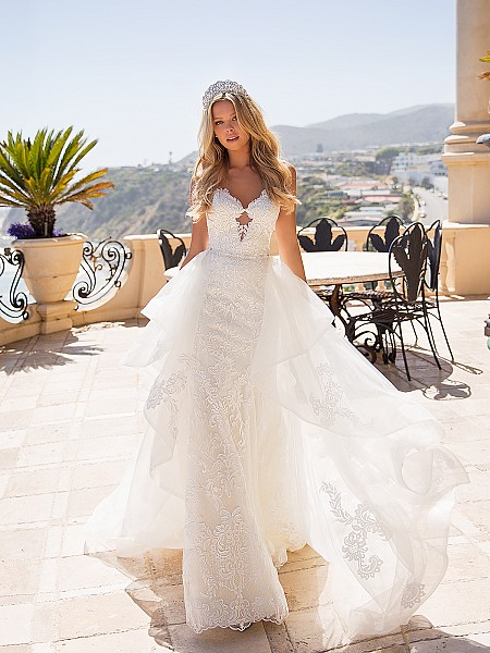 Moonlight Couture H1371 romantic lace wedding dresses with exaggerated sweetheart neckline and detachable train