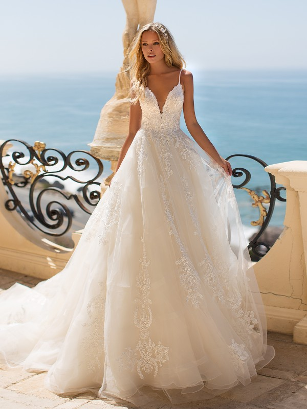 Moonlight Couture H1372 beaded and lace princess ball gown wedding dress