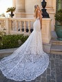Moonlight Couture H1374 lace and sparkle sequin wedding dress with long lace train