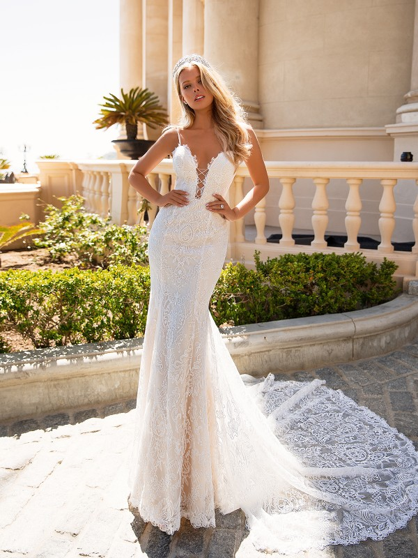 Moonlight Couture H1374 lace and sparkly fitted mermaid wedding dress with straps