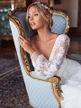 Moonlight Couture H1375 couture wedding dress with romantic sleeve details