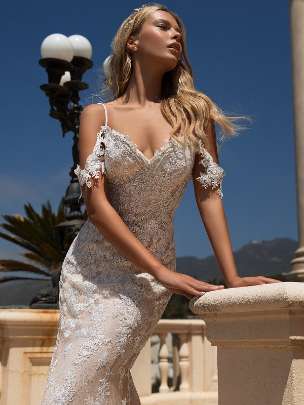 Moonlight Couture H1377 cold shoulder lace and beaded wedding dress