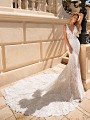 Moonlight Couture H1378 sexy mermaid lace wedding dress with v-neckline