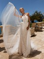 Moonlight Couture H1379 halter neck lace wedding dress with detachable tulle train