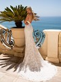 Moonlight Couture H1379 open back lace wedding dress with train