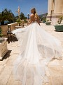 Moonlight Couture H1379 convertible slim lace wedding dress with optional train
