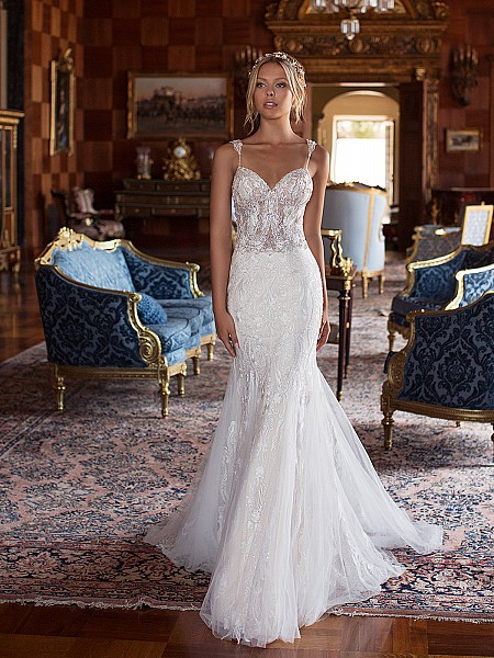 Moonlight Couture H1380 sexy beaded and lace trump with beadstraps