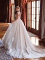 Moonlight Couture H1381 lace and beaded princess ball gown with train