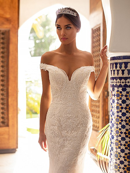 Moonlight Couture H1391 elegant off-the-shoulder lace mermaid bridal gown with sequin