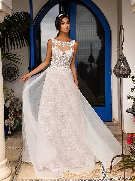 Moonlight Couture H1392 elegant illusion bateau neck mermaid gown with lace appliques and tulle overlay skirt