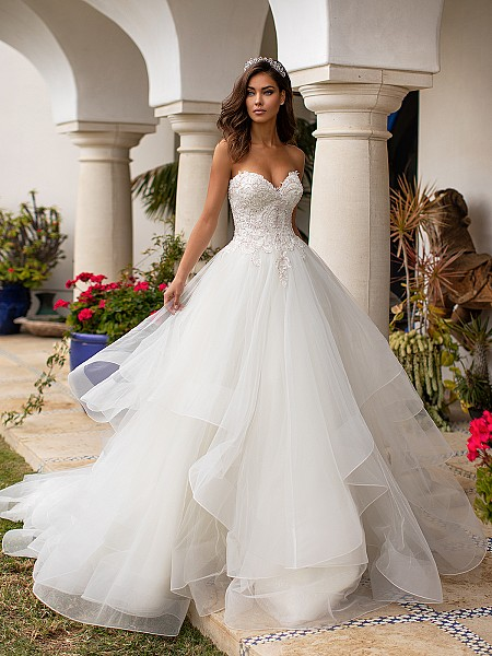 Moonlight Couture H1393 stunning tulle and beaded sweetheart ball gown with cascading tulle