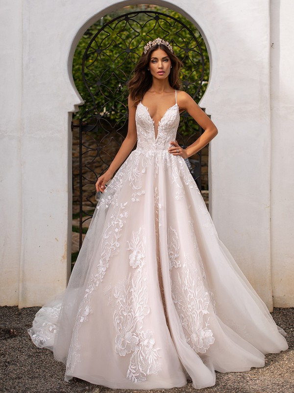 Moonlight Couture H1395 deep V-neck with thin straps full A-line wedding dress with lace appliques