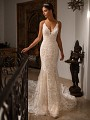 Moonlight Couture H1396 figure-flattering mermaid wedding dress with re-embroidered lace appliques and hem lace