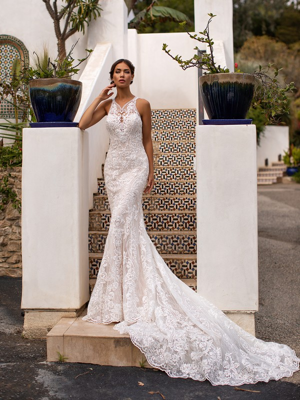 Moonlight Couture H1400 beautiful illusion halter neckline lace mermaid bridal gown with long train