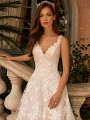 Moonlight Couture H1422 shimmering net wedding dress with lace straps