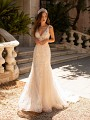 Moonlight Couture H1423 striped lace tulle rose net mermaid wedding dress