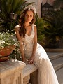 Moonlight Couture H1423 stripped lace mermaid wedding dress with v-neckline