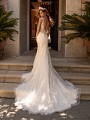 Moonlight Couture H1423 tulle v-back mermaid wedding dress with chapel train
