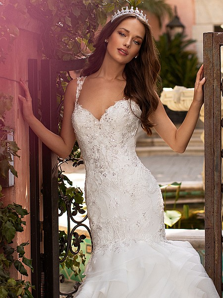 Moonlight Couture H1424 glamorous embellished bodice wedding dress with beaded straps