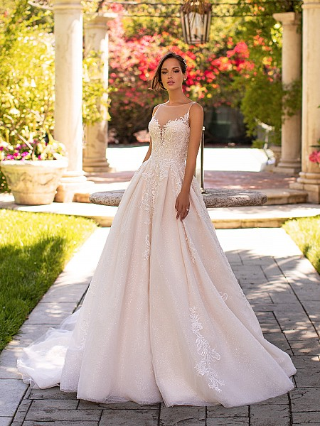 Moonlight Couture H1425 shimmer net wedding ball gown