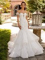 Moonlight Couture H1426 drop waist mermaid wedding dress with detachable sleeves