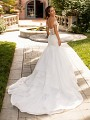 Moonlight Couture H1426 illusion back mermaid wedding dress with tulle cascading skirt