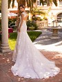 Moonlight Couture H1427 vintage lace mermaid wedding dress with lace keyhole back