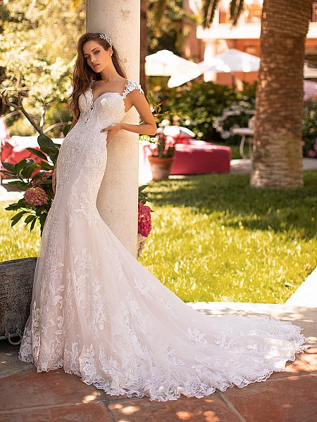 Moonlight Couture H1427 lace mermaid wedding dress with cap sleeves
